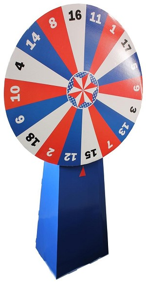 Cardboard Prize Wheel with 18 Numbered Slots, Floor Standing - Red, White & Blue
