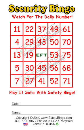 EFT Custom Bingo Card Security Bingo