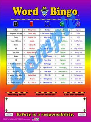 Word Bingo Board (Laminated)