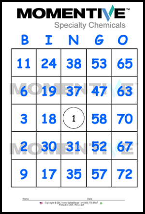 Momentive Custom Bingo Cards - Blue