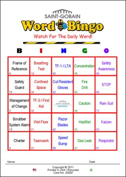St. Gobain Custom Bingo Card